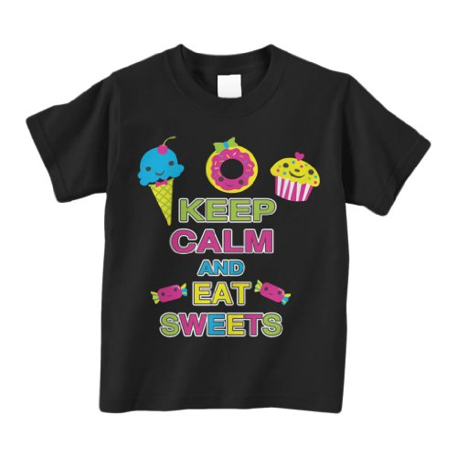Threadrock 'Keep Calm and Eat Sweets' Toddler T-Shirt 4T Black