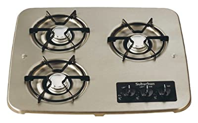 Suburban 2938ABK 3-Burner Black Cooktop