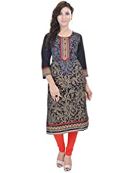 Shop Rajasthan Women's Cotton Self Design, Printed 3/4 Sleeve Kurti