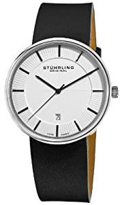 Stuhrling Original Men's 244.33152 Classic Ascot Fairmount Swiss Quartz Date Ultra Slim Silver Dial Watch