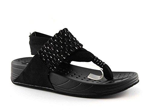 PREGUNTA KAHLUA black nero scarpe donna sandalo infradito elastico glitter 39