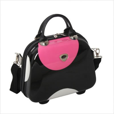 Shiny Large Dot 14 Vanity Case in Black