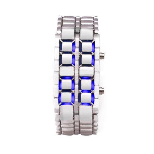 Volcanic Lava Iron Samurai Metal Faceless Bracelet Fashion Led Wrist Watch-Silver Bracelet Blue Led
