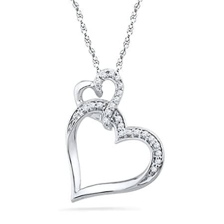 Sterlinig Silver Round Diamond Double Heart Pendant (1/10 CTTW)