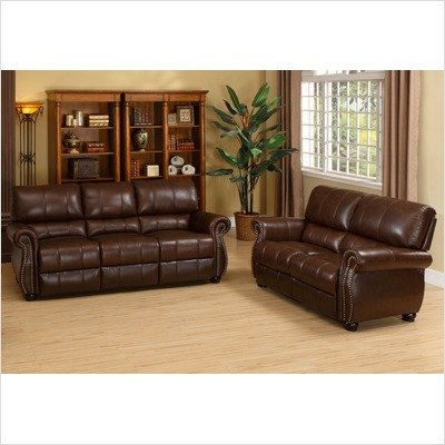 Buy Low Price Abbyson Living Ashley Series Italian Leather 2PC Sofa and Loveseat Set (CH1955BRG32)