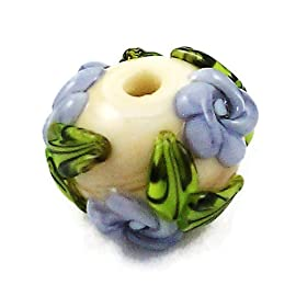 Lampwork Glass Bead Lavender on Ivory Flower Rose Garden