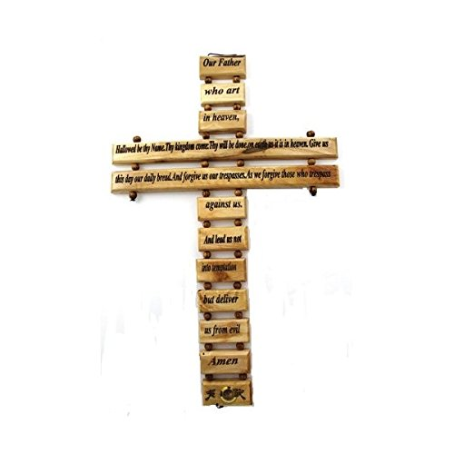 Olive Wood Lord's Prayer Cross (9
