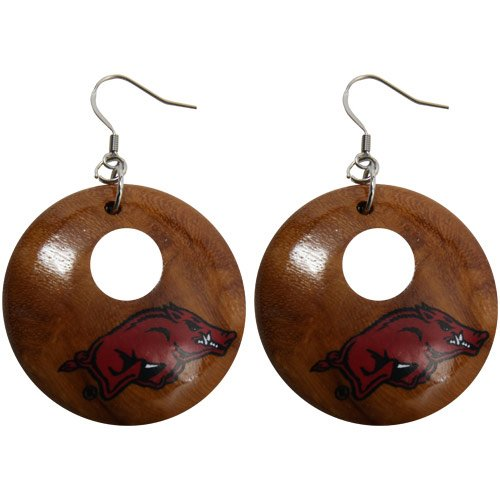Dayna U Arkansas Razorbacks Round Wooden Earrings at Amazon.com