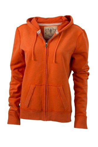James & Nicholson - Kapuzenjacke Ladies' Vintage Hooded Sweatshirt, Giacca Donna, Arancione (dark-orange), Large (Taglia Produttore: Large)