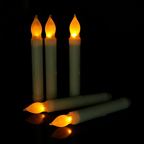 Micandle Set of 12 Yellow Mini Battery Operated Amber Flickering LED Taper Candles, Yellow Flameless Battery led candlesticks -Batteries Not Included (Electric Candles Battery Operated compare prices)