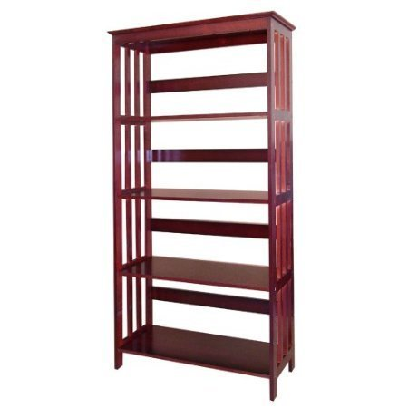 Fancy Cherry Mission Style Wooden 4-tier Bookcase Mission Style 4 Shelf Bookcase