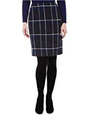 M&S Collection Textured Tweed Checked Mini Skirt with Wool