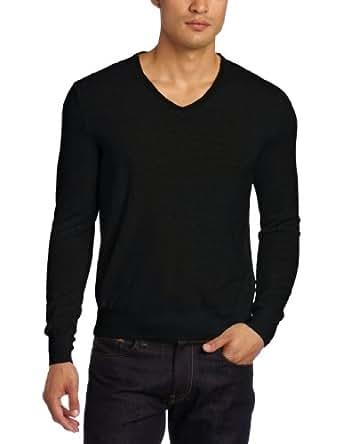 Calvin Klein Men's Tipped Merino V-Neck Sweater, Black, Small