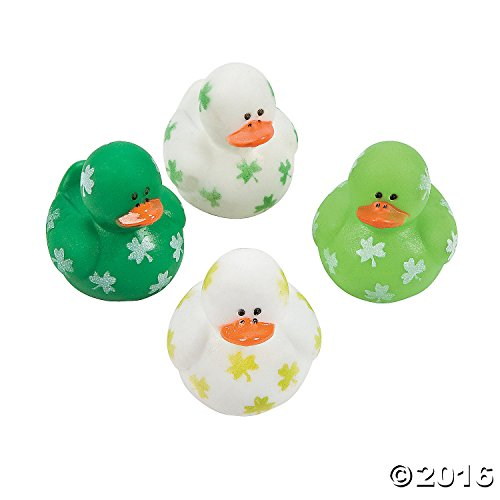 Two Dozen (24) Mini Irish St. Patrick's Day Rubber Ducks - 1