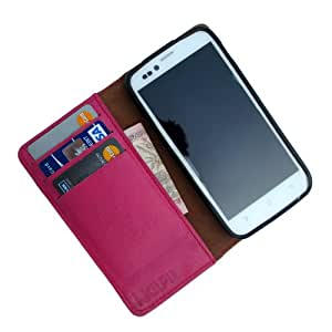 i-KitPit Genuine Leather Flip Wallet Case For Micromax Canvas knight (PINK)