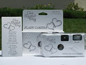 10 Pack Happy Hearts Wedding Party Disposable Cameras with Gift Box and Matching Tents, 27 Exp.