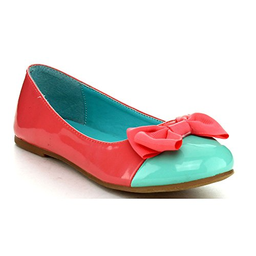 Jelly Beans Gpub Youth Kid'S Girls Hot Slip On Bow Ballet Flats Dress Shoes, Color:Coral, Size:10
