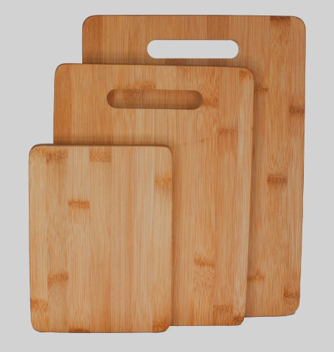 "Bamboo Cutting Board 3-piece Set, Strong 3/4"" Thick 3-ply Construction, Easy on Your Cutlery and Cookware , Makes Nice Cheeseboard, Breadboard, Serving Tray Set, Trivet or Chopping Boards, Separate Bo"