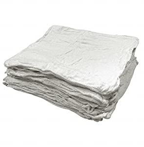 "Kapaas 100% Cotton Auto Shop Towels White, Shop Rags, Ideal for Auto Care, Easy Wash, 100-pack - White (14"" X 14"") by Kapaas"