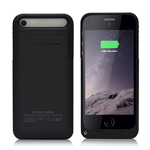Tomameri iPhone 5 / 5S Battery Case 2500mAh Extended Charger Case External Protective Rechargeable Spare Back Up Battery Case Power Bank with Lightning Charging Port and Kick Stand (Black) (Iphone Battery Case 5 compare prices)