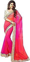 WXW Fashion Women's Georgette Saree with Blouse Piece(WXWAZYC2D_Pink)