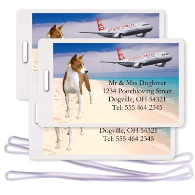 Basenji Set of 3 Personalized Luggage Tags