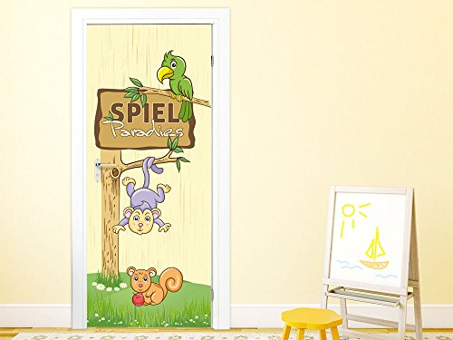 t rtapete kinderzimmer t rposter selbstklebend spruch spielparadies affe vogel 92x205cm. Black Bedroom Furniture Sets. Home Design Ideas
