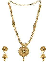 Anuradha Art Golden Tone White Colour Shimmering Stone Classy Traditional Long Necklace Set For Women/Girls
