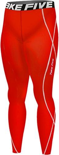 new-167-rosso-pelle-leggings-a-compressione-base-strato-pantaloni-da-corsa-da-uomo-red-m