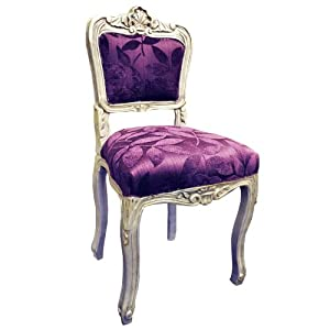 Antique finish silver frame purple leaf fabric louis - Purple chairs for bedroom ...