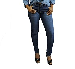 D-nimes women's fashion dark indigo slim fit ancle length denim jeans