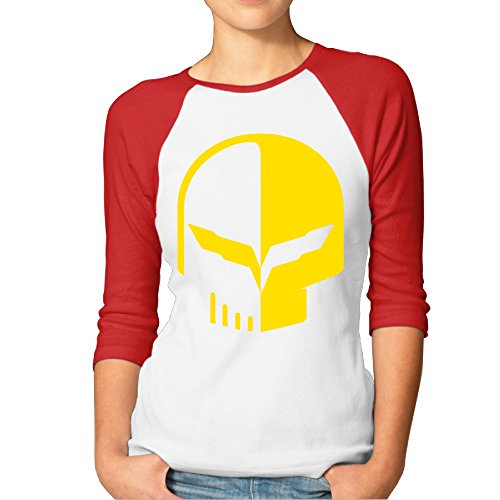 PTCY Chevrolet Logo With Punisher Skull Symbol Women's Custom Raglan Tees Red XL (Bose Silverado Speakers compare prices)