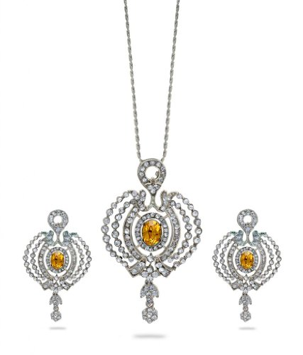 Eclat Rhodium Brass Alloy Pendant Set For Women(412377RSU)