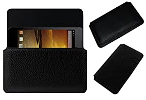 Acm Horizontal Leather Case For Micromax Blaze Hd Eg116 Mobile Cover Carry Pouch Holder Black