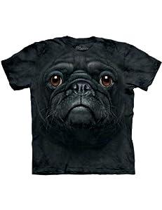 Black Pug Dog Face The Mountain Kinder T-Shirt XL