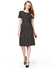 Spotted Fit & Flare Ruched Tea Dress