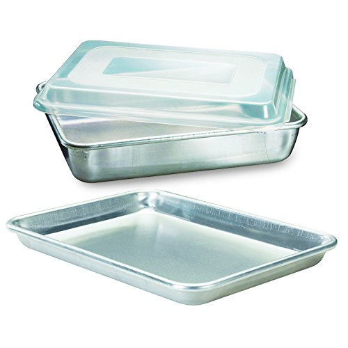 Nordic Ware Natural Aluminum Commercial 3-Piece Baker's Set, Quarter Sheet and Cake Pan (Nordic Ware Cake Pan With Lid compare prices)