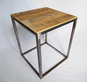 Table d 39 appoint en acier brut et bois ancien - Table cuisine bois brut ...