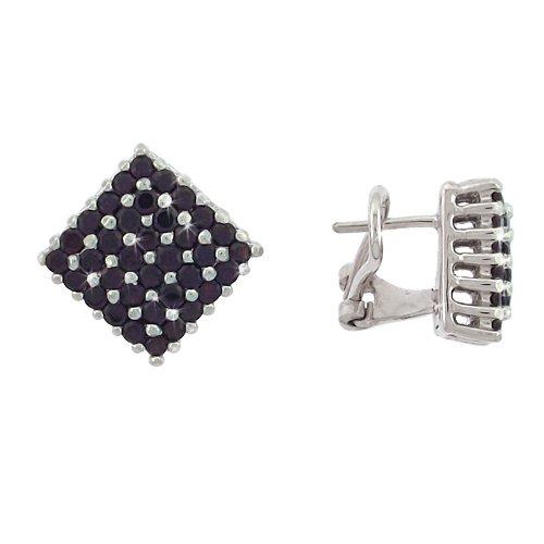 Studio 54 Women's Earrings in White 925 Sterling Silver with Black Cubic Zirconia, 11 Grams