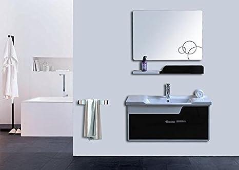 Mobile bagno bianco e nero completo di lavabo specchio l90