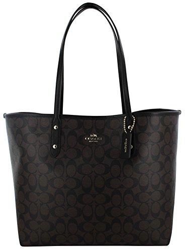 Coach Signature Large City Women's Tote Handbag Bag F36126 Brown