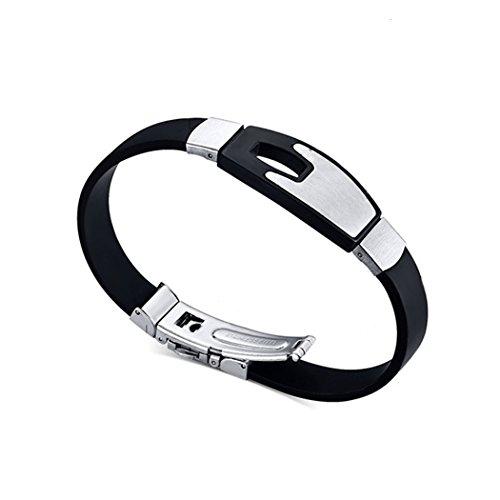 YC Top personalizzato Hollow in acciaio inox nero Silicone Braccialetto da uomo
