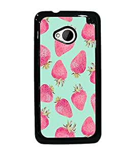 PrintDhaba Strawberries D-1452 Back Case Cover for HTC ONE M7 (Multi-Coloured)