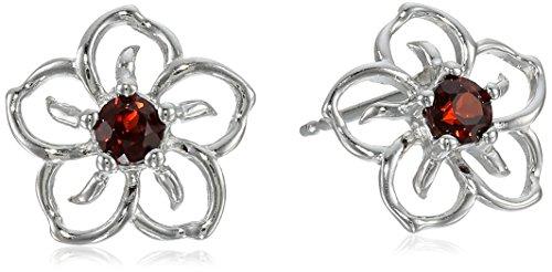 sterling-silver-garnet-flower-stud-earrings