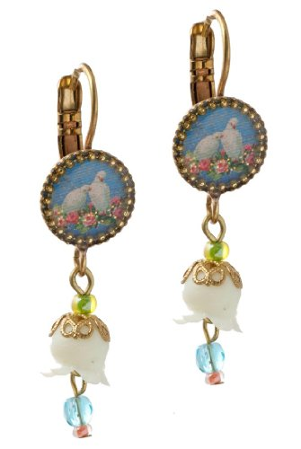 Michal Negrin Earrings with Doves and Roses Bouquet Print, White Dangle Lily, Green and Blue Beads - Hand-made in Israel