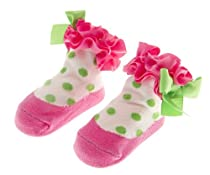 Mud Pie Newborn Baby-Girls Hot Flat Dot Socks, Hot Pink/Green/White, 0-12 Months