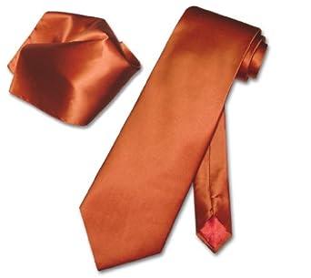 BIAGIO SILK Solid BURNT ORANGE NeckTie & Handkerchief Neck Tie Set
