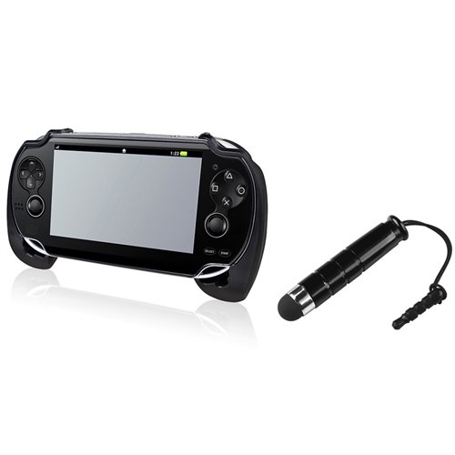 Everydaysource Compatible With Sony PlayStation Vita - Black Hard plastic rubber coating Hand Grip + Black Stylus