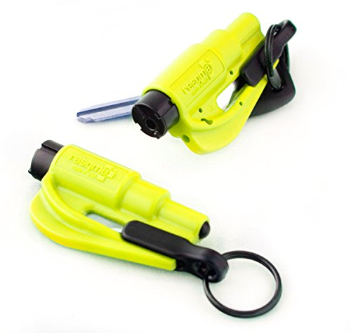 resqme 04.100.09 The Original Keychain Car Escape Tool Safety Yellow Seatbelt Cutter and Window Glass Breaker, 2 Pack (Seatbelt Cutter Key compare prices)