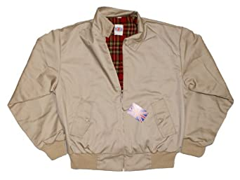 Harrington Jacket with Tartan Lining - Beige - S